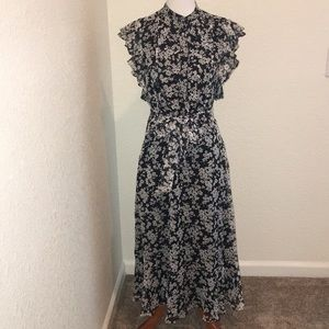 NWT Ralph Lauren Black and White Floral Dress. 2